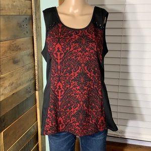 Maurices Black & Red Keyhole Tank Top Blouse Large